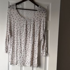 3/4 Sleeve Bird Print Tunic with Knit Detail